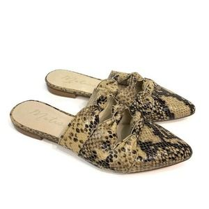 Matisse Snake Embossed Leather Pointy Toe Mules 7